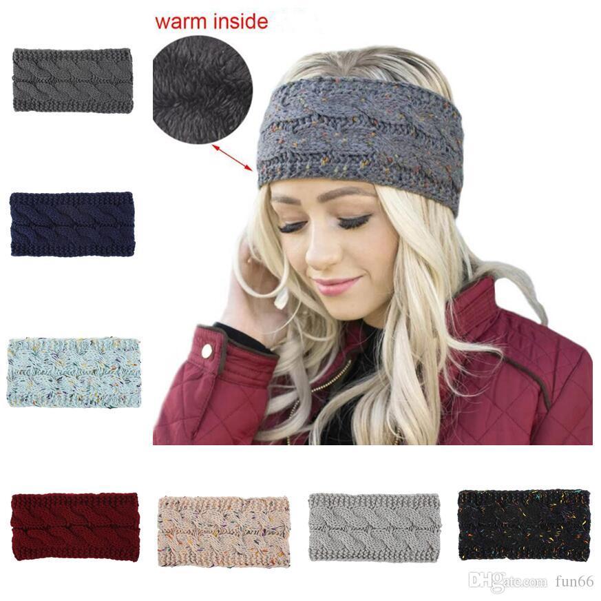Women Winter Ears Warmer Pearl Decor Wide Hairband Knitted Headband Soft Thicken