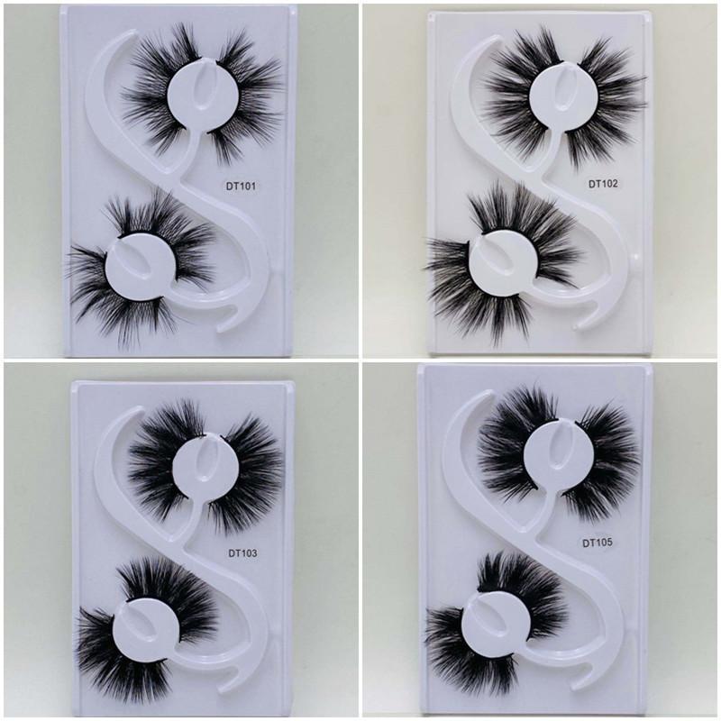 2pairs / kutu 20 mm Sahte 3D Vizon Kirpikleri Yanlış Kirpik Doğal Çapraz Kirpik Uzatma Makyaj Sahte Kirpik Göz Lashes