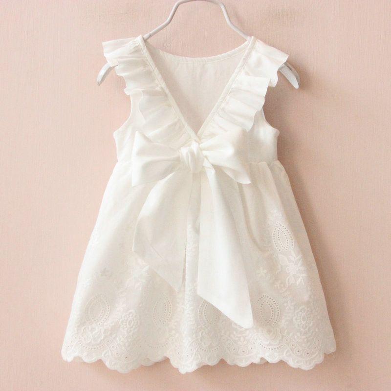 Vestidos da menina Sólidos Branco Menina Vestidos de Verão Estilo Roupas Infantis Vestidos Vestido Infantil Roupas Menina