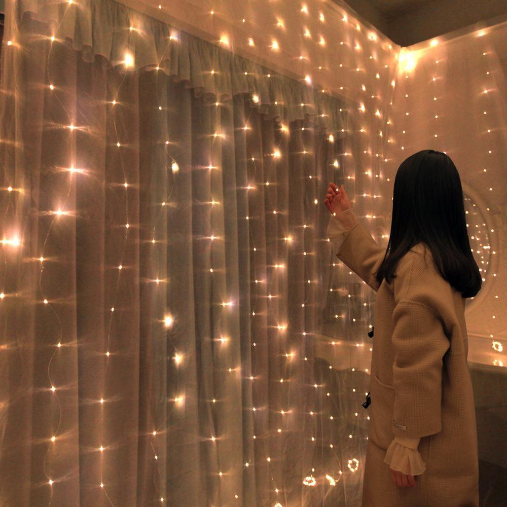 Ev 3x0.5M / 3x2M / 3x3m LED Perde Bakır Tel String Noel Peri Işıklar Garland yeni yıl 2020 için Noel Dekorasyon, Q T191118