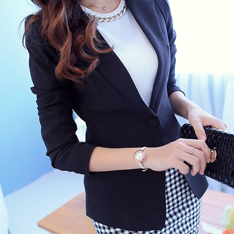 PEONFLY Bayanlar Blazer Uzun Kollu Blaser Kadınlar Suit ceket Kadın Dişil Blazer Femme Pembe Mavi Beyaz Siyah