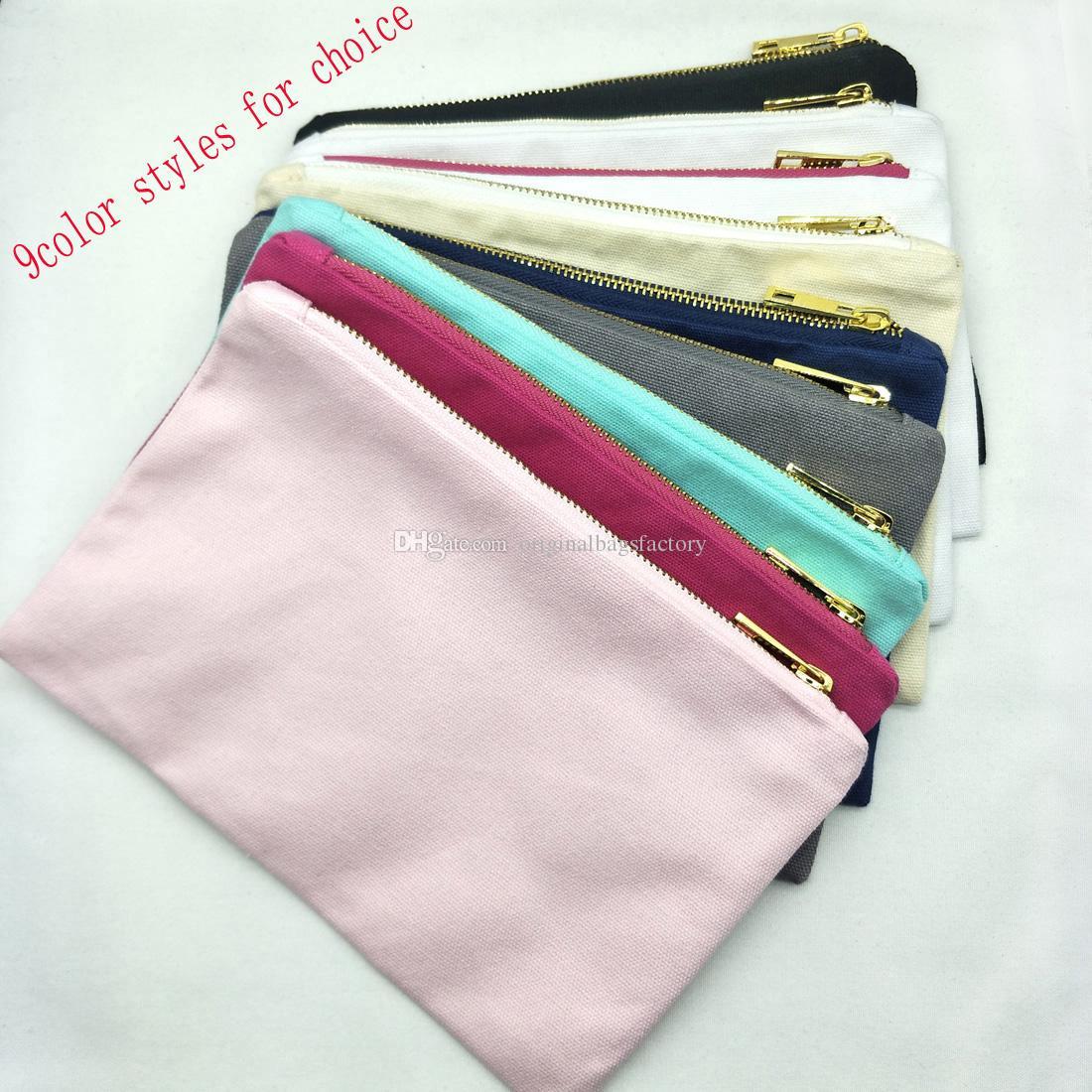 블랙 / 화이트 / 크림 / 그레이 / 네이비 / 민트 / 핫 핑크 / 라이트 핑크 화장품 가방과 함께 9 색 스타일의 빈 면화 캔버스 메이크업 가방, 골드 지퍼 골드 라이닝