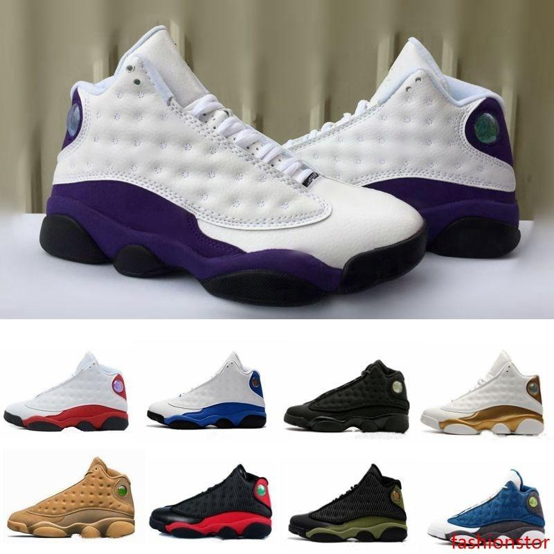 Designer Sneakers New mens 13 Cap and Gown Black Cat LA WHITE PURPLE Grey Basketball Shoes White women Chicago red XIII Trainer Sneakers
