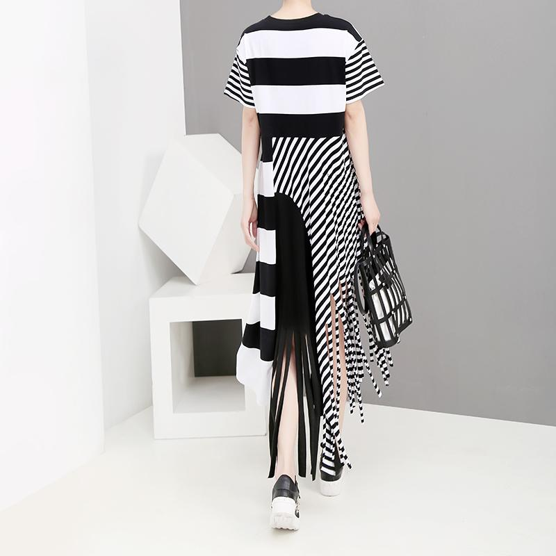 New 2019 Korean Style Women Summer Long Black Stripe Dress With Tassel Ladies Unique Casual Party Dresses Style Robe Femme F1023