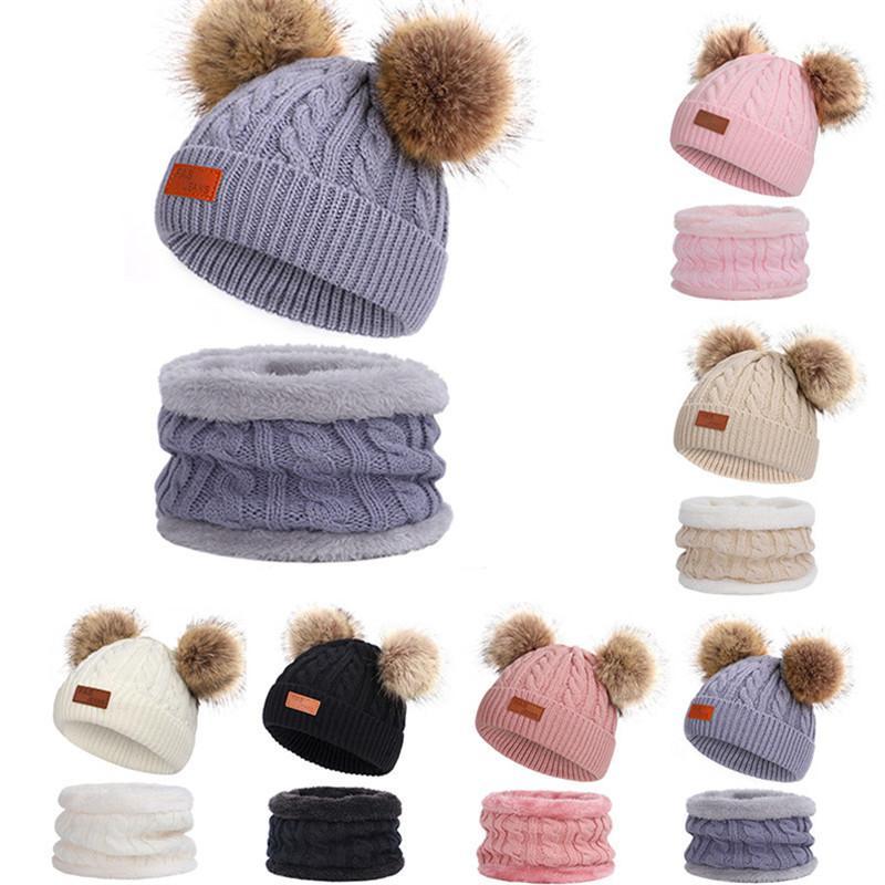 Дети Knit Hat шарф Set Мода зима Pom Pom Вязаная шапочка высокого качества флисовые шапки Толстые крючком шарфы Открытый Комфорт Теплый Колпачки для лыж