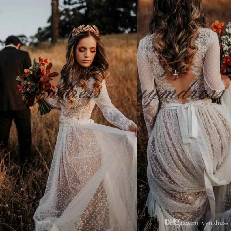 2019 Sexy Bohème Robes de mariée à manches longues en dentelle Voir Par balayage Appliques train Robes de mariée Plus Size Robe de Noiva Custom Made