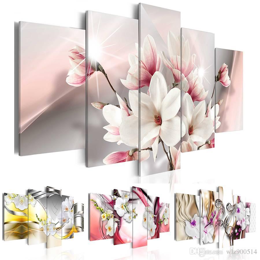 2019 качестве HD 5шт/комплект красный фиолетовый белый цветок орхидеи печать искусства бескаркасных холст стены картину домашнего украшения,без рамки