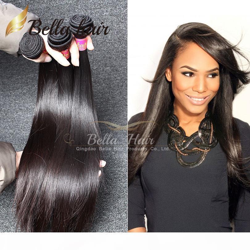 8A peruana Tejidos de pelo extensiones del cabello humano brasileño sin procesar paquetes sedoso pelo indio malasia 3pcs mucho Bellahair