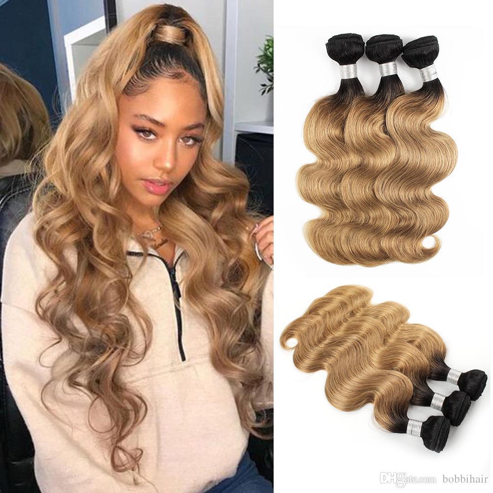 Brazilian Virgin Body Wave Hair Weave Bundles Ombre Honey Blonde Color 1b27 3 Or 4 Bundles 10 24 Inch Remy Human Hair Extensions Body Wave Human Hair