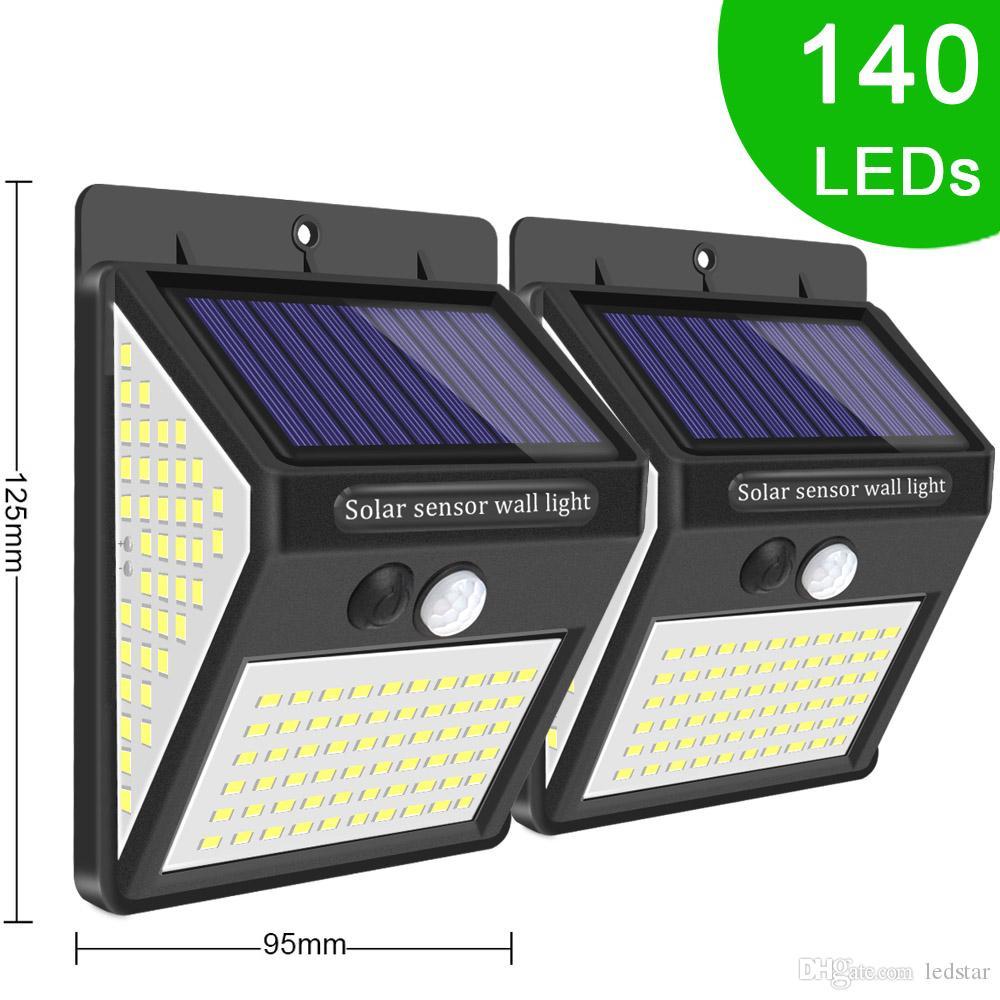 3mode 140 LED Açık Güneş Sel Işık Hareket Kablosuz Sensörü Güneş Güvenlik Işık Duvar Çit Dekorasyon PIR Su Geçirmez Enerji Lambası Için