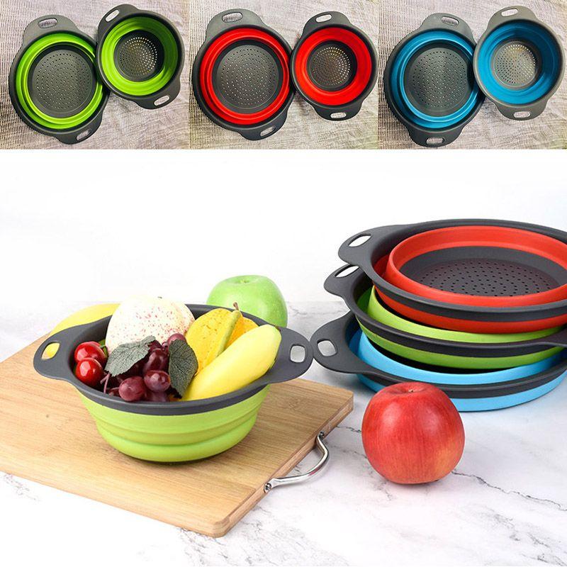 2pcs/lot Folding Collapsible Silicone Colander Strainer Kitchen Fruit Filter Basket Fruit Vegetable Colander Kitchen storage bowl WX9-1706