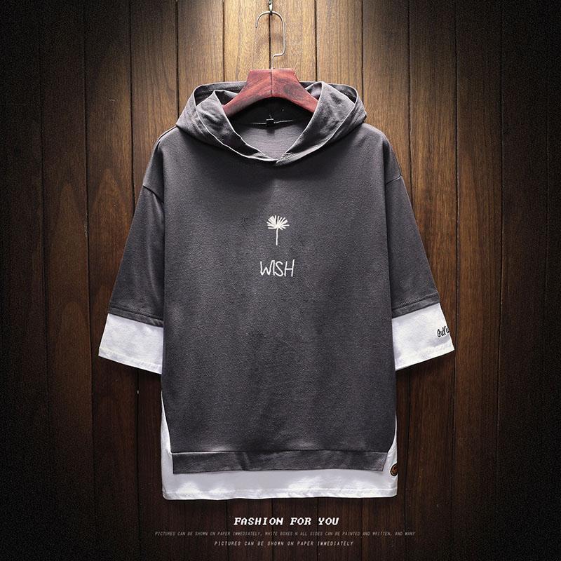 Вышивка букв Лоскутное Новое Лето хлопок футболка мужской с капюшоном false Твердые свободные футболки с коротким рукавом Мужчины случайные Тройники M-5XL