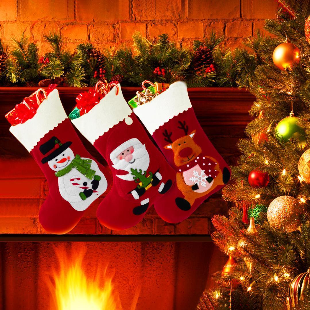 6 adet Kırmızı Dekoratif Noel Çorap Çanta Tatil Çorap Hissettim Karikatür Asılı Şeker Hediyeler Noel Çanta Mutlu Noeller Tedavi
