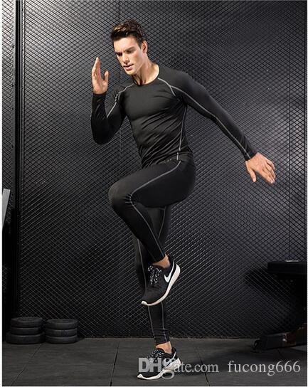 New men's PRO tight body fitness training suit stretch quick dry clothes suit long sleeve + trousers