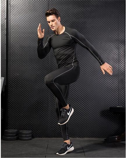 Der PRO Pro Body Fit-Trainingsanzug für Männer ist schnell trocknende Kleidung für lange Ärmel + Hose