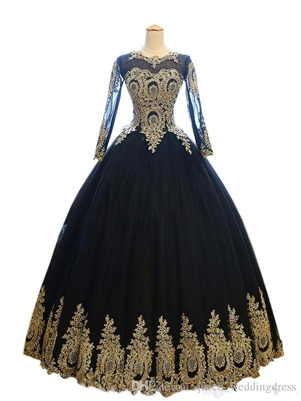 Sexy Black And Gold Ball gown Evening Dresses Formal Gowns 2019 Long Illusion Sleeves Lace Applique Tulle Cheap Designer Prom party Dress