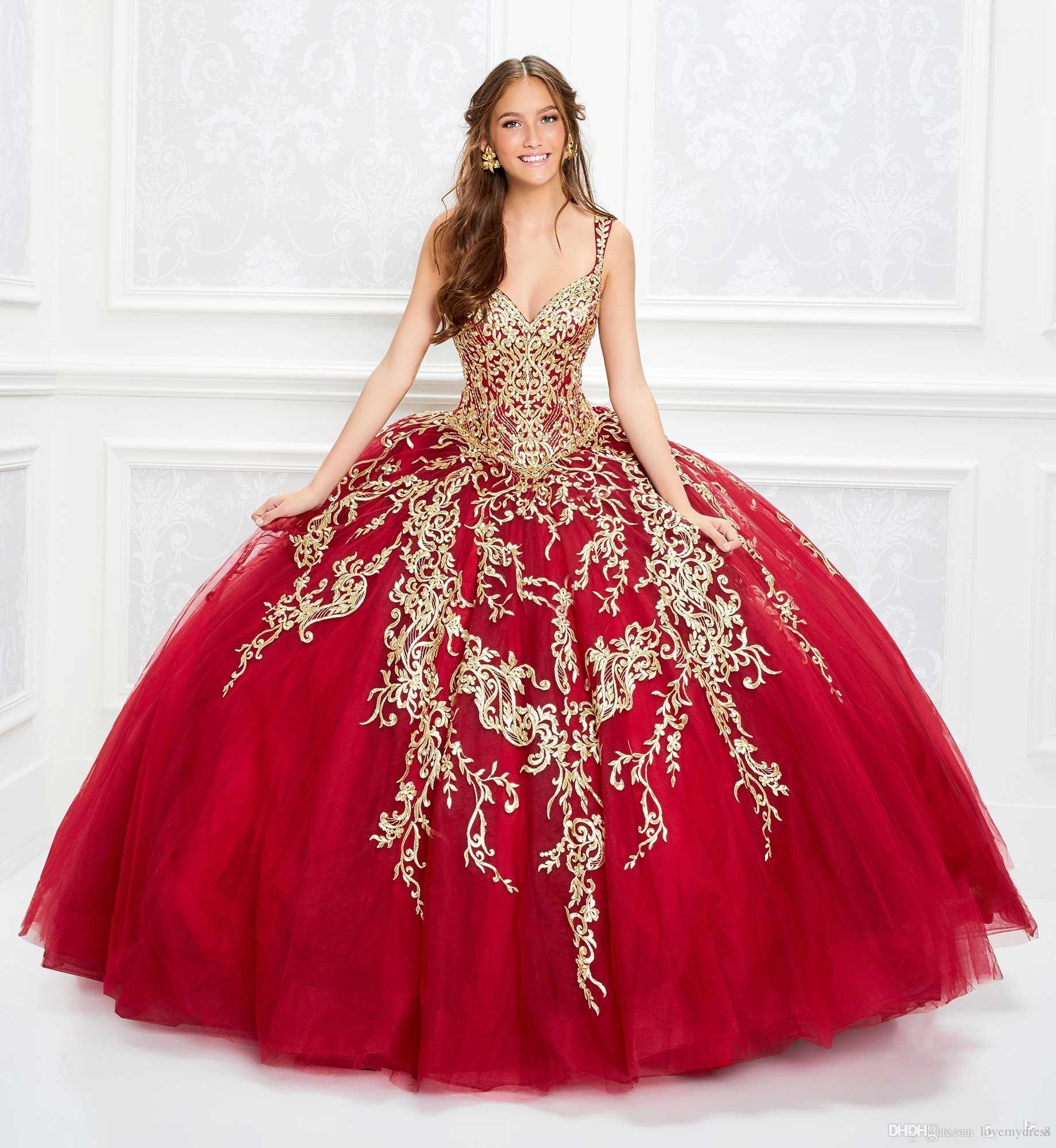 Red Tulle Gold Embroidery Sweet 16 Dresses Vestidos De Quinceanera 2020 Spaghetti V Neck Lace Up Ball Gown Cupcake Prom Dress Graduation Simple