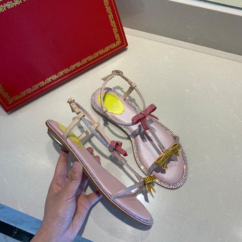 heiße Verkaufs-Dame einziges Kleid Schuhe Flip Flops flache Fersen kausale Schuhe mit bunten Bowtie modischer bequemer weicher Sohle