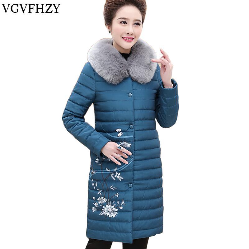 2017 collar nuevo de las mujeres abajo cubre desmontable piel gruesa prendas de vestir exteriores 90% pato blanco abajo chaquetas de impresión Mujer Escudo larga caliente del invierno