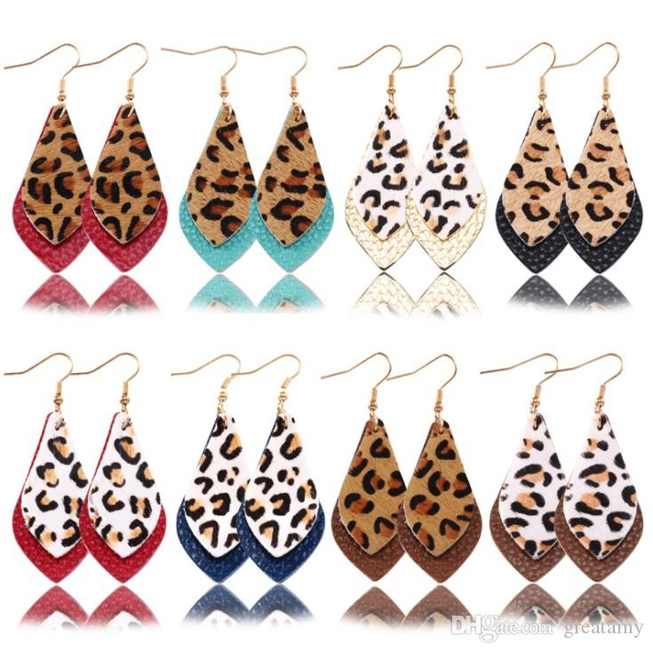 19 design Leopard Print Earrings Pu leather material vintage Bohemian earrings girls fashion accessories summer gifts