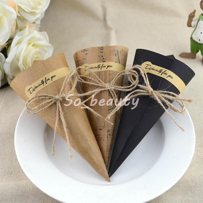 Kraft Paper Cones Bouquet Candy Boxes 100pcs Wedding Favor Birthday Party Sweet Tube Gift Box Free Shipping