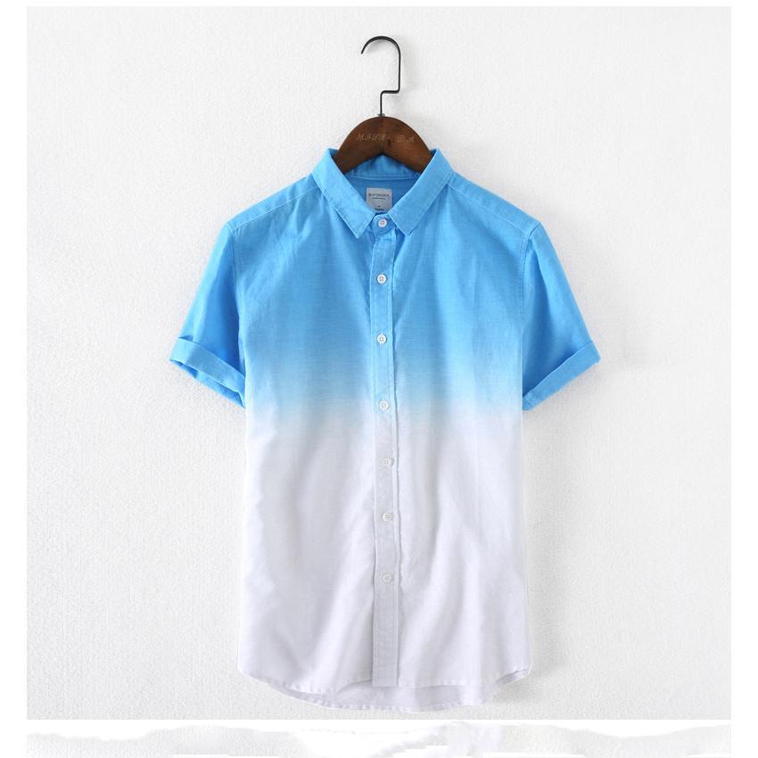 Hommes Designer Chemises à manches courtes luxe mode dégradé de couleur T-shirts Garçons en vrac Respirant T-shirts Casual hommes déliés Hauts T-shirts Vente chaude