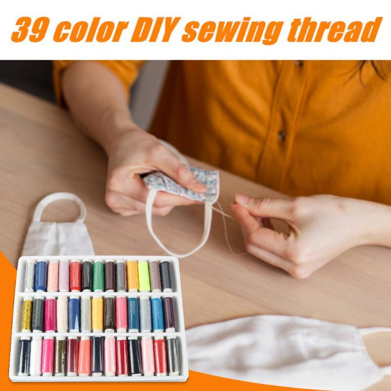 39pcs / Sets pequeño rollo para el hogar Hilos de coser Carretes bordados, artesanía Patch trabajo hecho a mano de la máquina de coser Hilos Z61