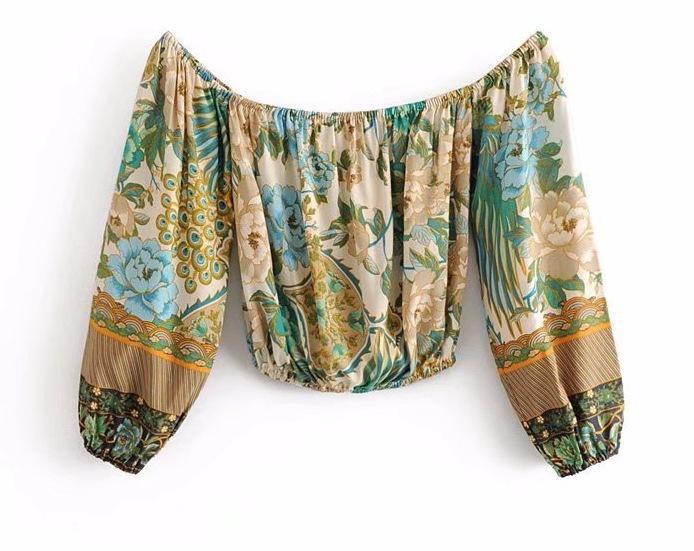 Woah Djf8027-27 Европейский и американский стиль павлин открытой трафаретной печати с плеча с длинным рукавом тонкий топ блузка