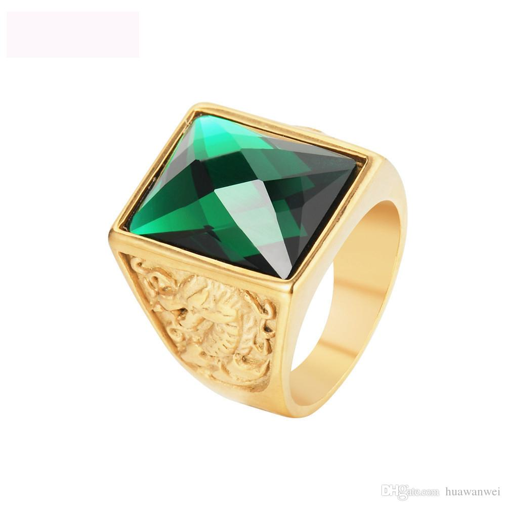 Dragon and phoenix gemstone jewelry rings gold color titanium steel figure ring casting royal rings for men free shipping