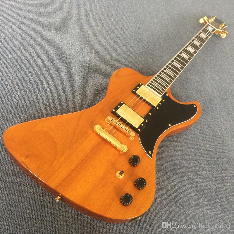 Özel RD Stil Şeffaf sarı Maun gitar Explorer Elektro Gitar Uçan, Tuilp Tuner, Blok Kakma, Altın Hardware190109