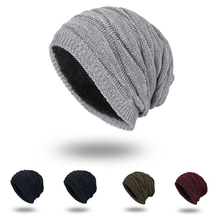 Moda Cappelli Caps Mens inverno Berretti solido caldo colore Cappello uomo semplice Bonnet Beanie di lavoro a maglia Cap Touca Gorro Cappelli Vogue Knit Cappelli