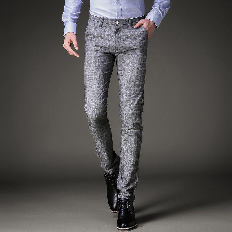 Compre Moda Para Hombre Pantalones De Vestir De Verano Pantalones Formales Slim Fit Traje Pantalones A Cuadros De Negocios Mas El Tamano De La Boda Trajes De Pantalon Hombres Pantalones A 31 56