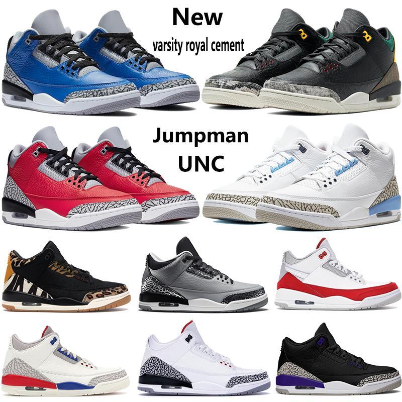 Zapatillas de baloncesto 3 Wolf gris para hombre Fire Red Black Cat Cemento blanco Infrarrojo Deporte True blue Hombre Zapatillas de deporte US7-13