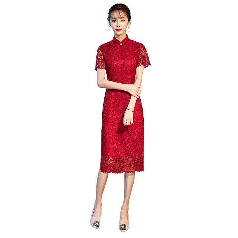 Стильные дамы Red Lace Sexy Vintage Hollow Cheongsam Новизна Китайский стиль Мандарин Воротник платье дамы вышивки Qipao M-XXXL