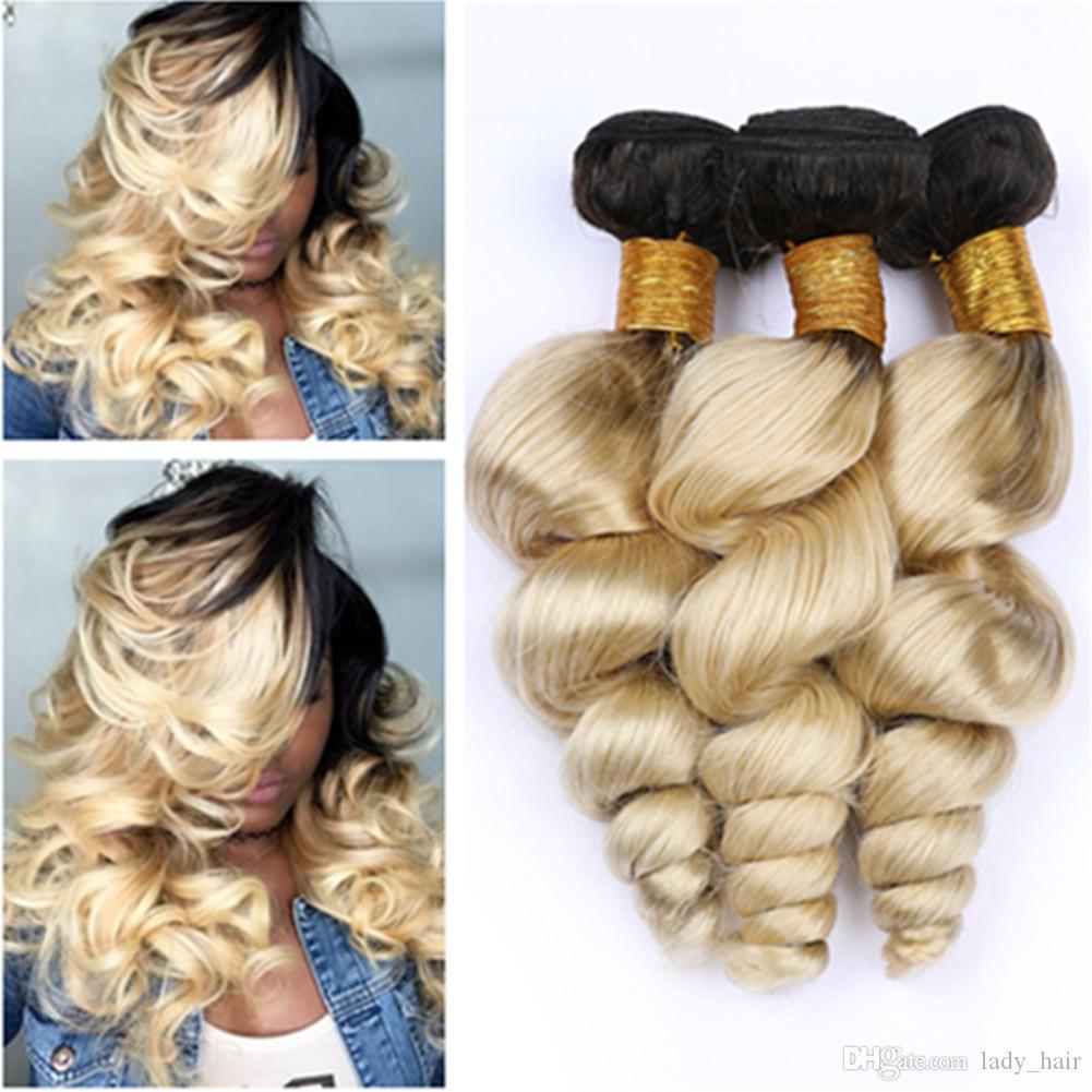 """말레이시아 Blonde Ombre 인간의 머리가 느슨한 웨이브 번들 우대 3 개 로트 # 1B / 613 다크 루즈 금발 옹 브린 인간의 머리카락 Weave Wefts 10-30 """""""