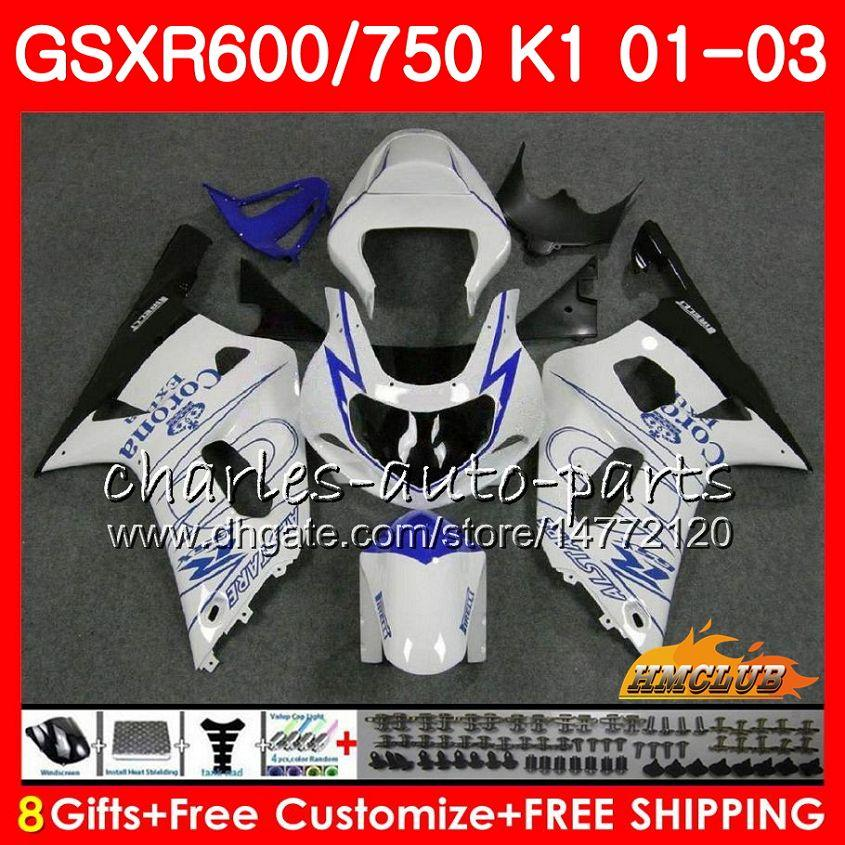 8Gifts corpo per SUZUKI GSXR600 GSX R750 K1 GSXR600 GSXR750 GSXR750 4HC.62 GSXR 600 750 01 02 03 2001 2002 2003 nuova vendita blu corredo della carenatura