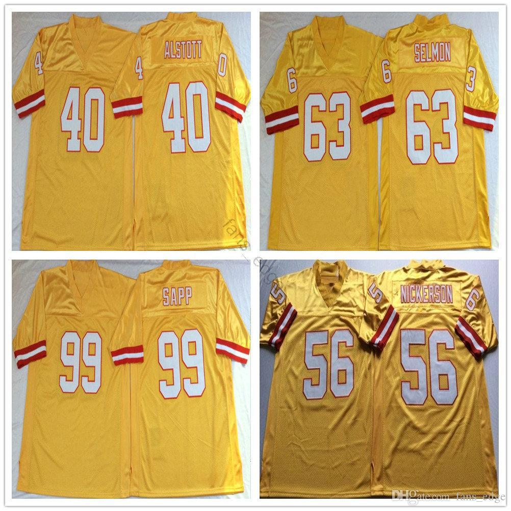NCAA Retro Vintage 99 Warren Sapp Jersey 63 Roy Selmon 40 Mike Alstott 56 Hardy Nickerson Herren Nähte Fußballtrikots