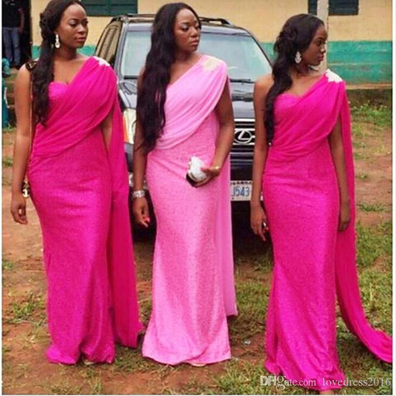 2019 아프리카 신부 들러리 드레스 아플리케 한 어깨 명예 드레스 긴 파티 공식적인 저녁 가운의 메이드