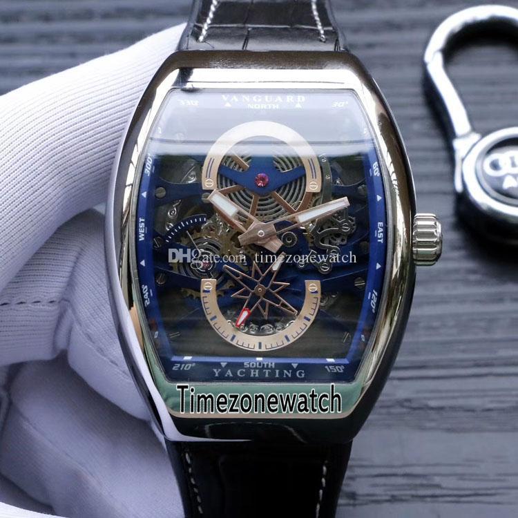 جديد Saratoge Vanguard S6 Yachting V45 S6 YACHT الهيكل العظمي الصلب الأزرق الهاتفي التلقائية الرجال ووتش حزام من الجلد للرجال ساعات Timezonewatch