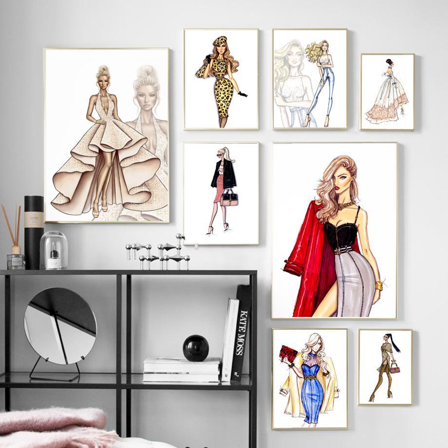 파리 패션 소녀 사용자 정의 드레스 핸드백 벽 예술 캔버스 북유럽 포스터와 인쇄 벽 사진을 거실 장식 회화