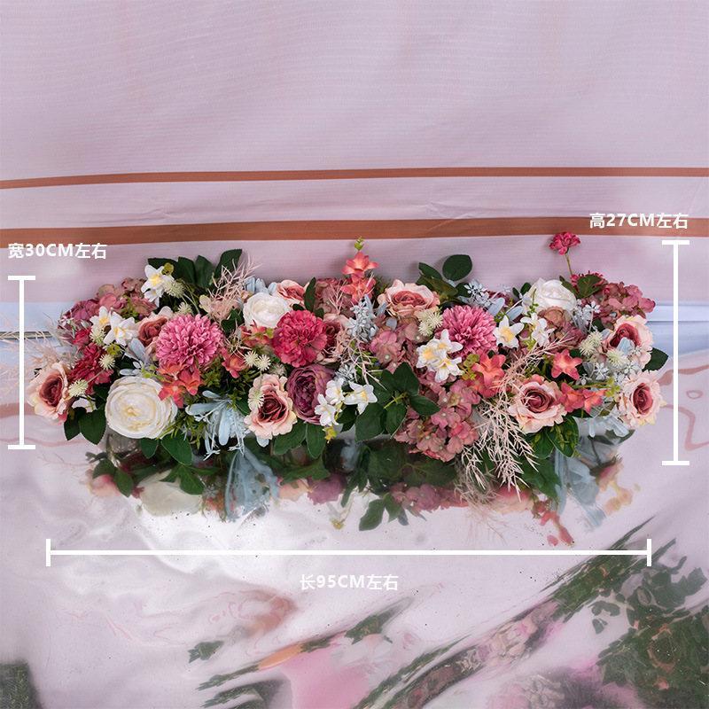 Seda rosa peonía hortensias citadas flores artificiales para la boda decoración del hogar fila arco puerta flores falsas guirnalda