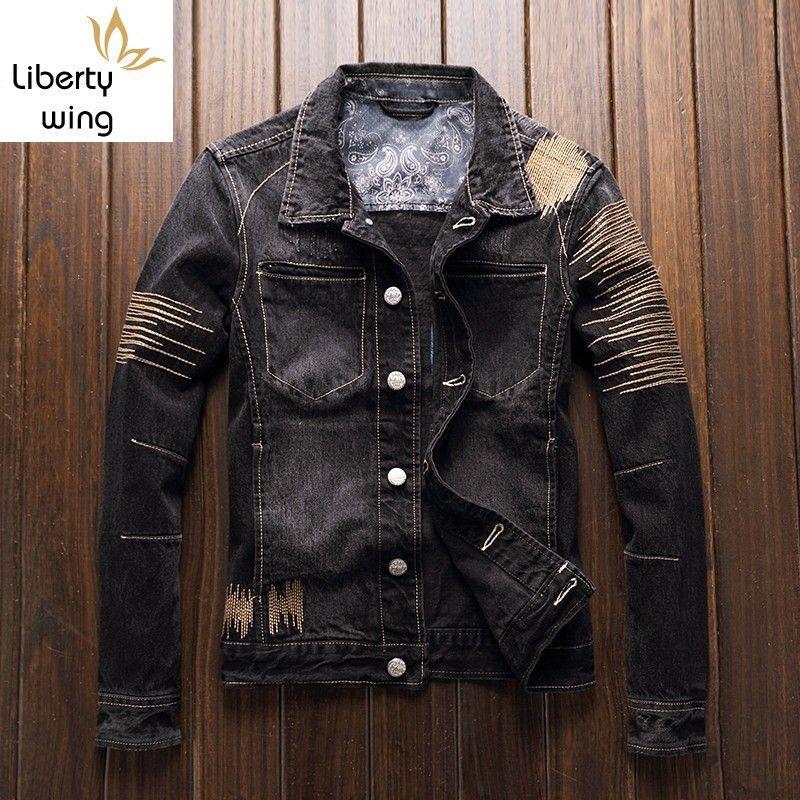 Ricami Denim cappotto maschile Japan Style Vintage Slim Fuori Jean lusso autunno casual manica lunga Chiodo Outwear