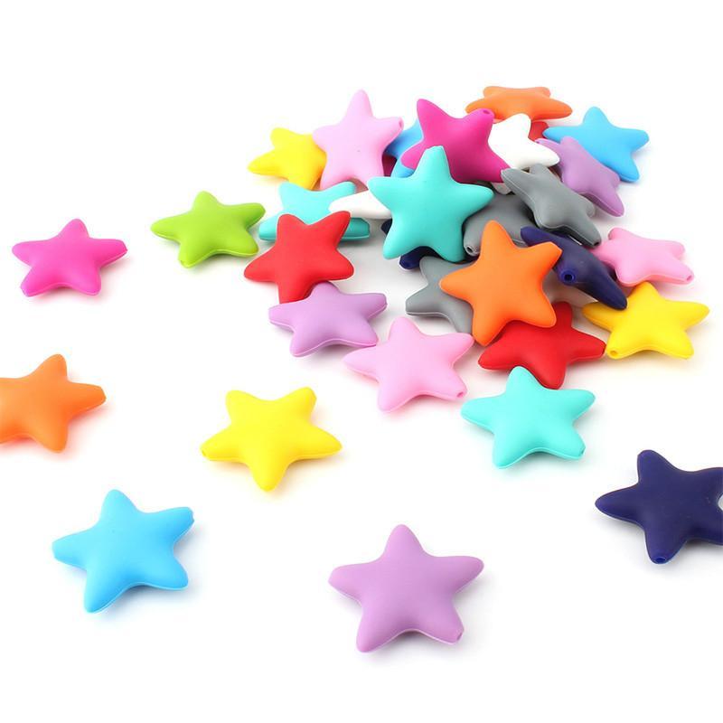 Bead estrella de silicona para bebés de mordedores Accesorios Alimentos Grado de la perla de silicona estrella dentición Chupete Haciendo Mordedor