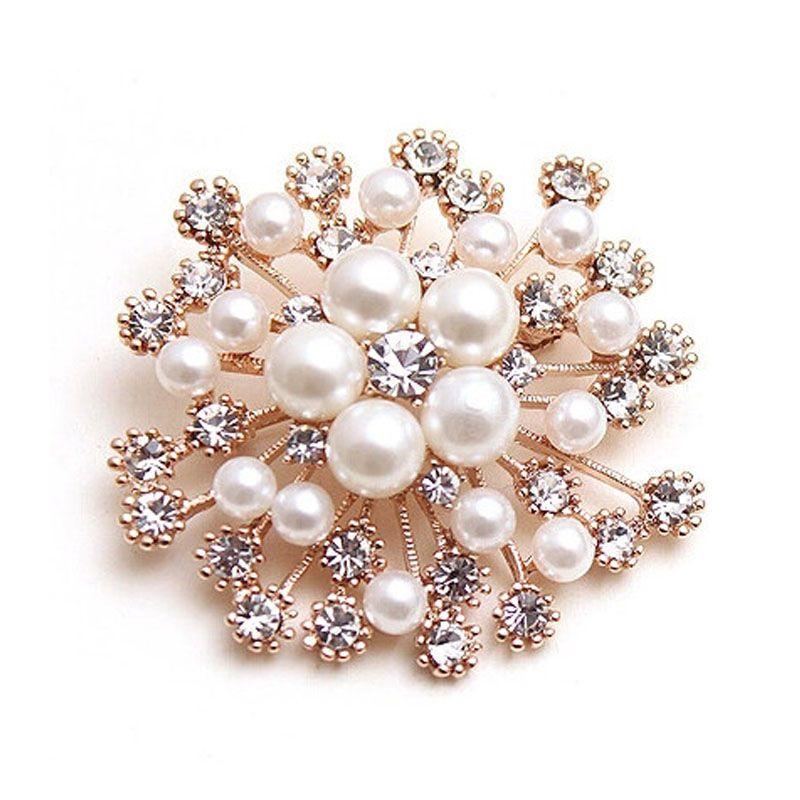 2018 Sıcak LNRRABC Moda Kadınlar Büyük Broş Lady kar tanesi İmitasyon İnci Rhinestones Kristal Düğün Broş Pin Takı Accessorise