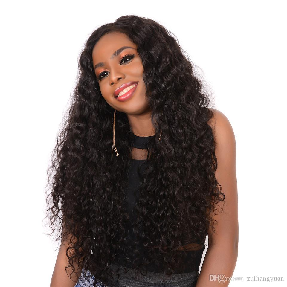 Curly Lace Front Human Hair Wigs For Black Women Pre Plucked Peruvian Front Lace Wigs 150% Density Remy