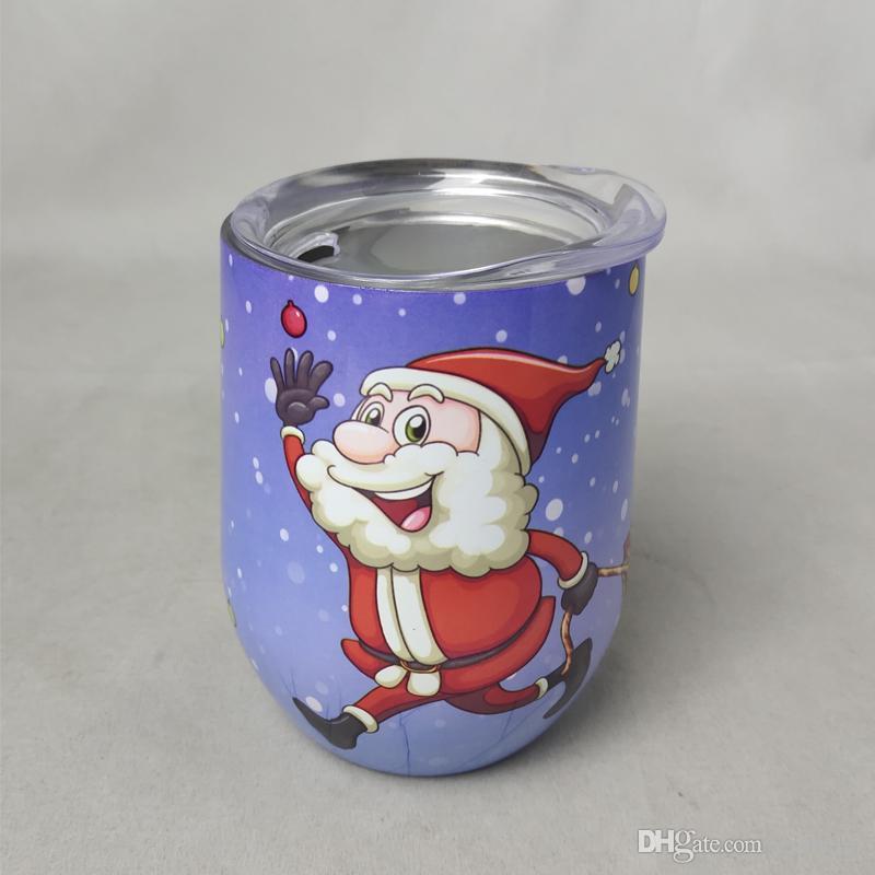 Regalo conmemorativo de Navidad 12 oz Creativo Cartoon Santa Claus Cup Niños Vacío Acero inoxidable Taza de café Taza de bebida fría