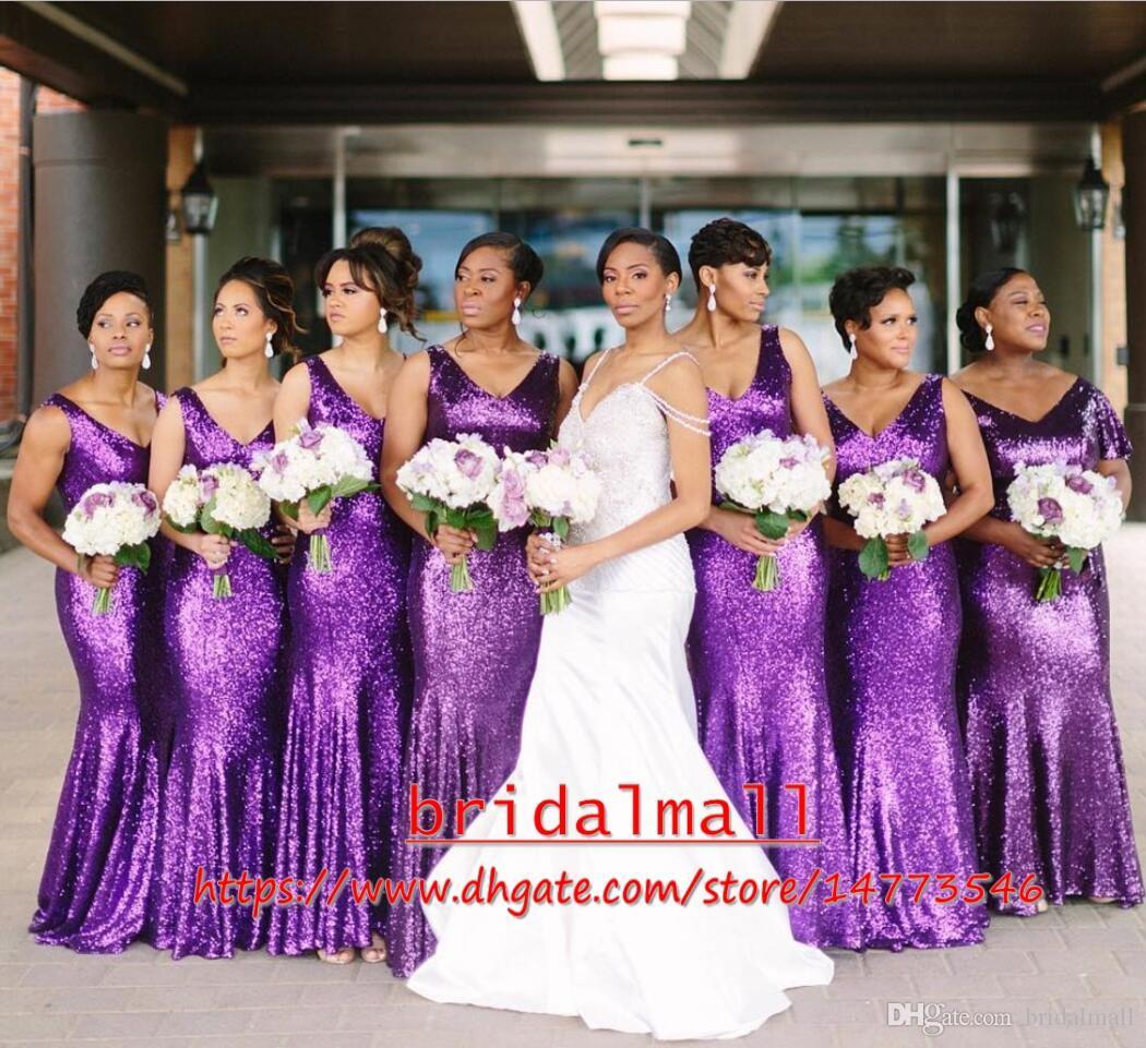Filles noires 2020 Sexy Plus Taille Sequins Purple Mermaid Robes de demoiselle d'honneur Longue Mariage Partie de mariage Robe d'invité Capuzz African Honor Robe