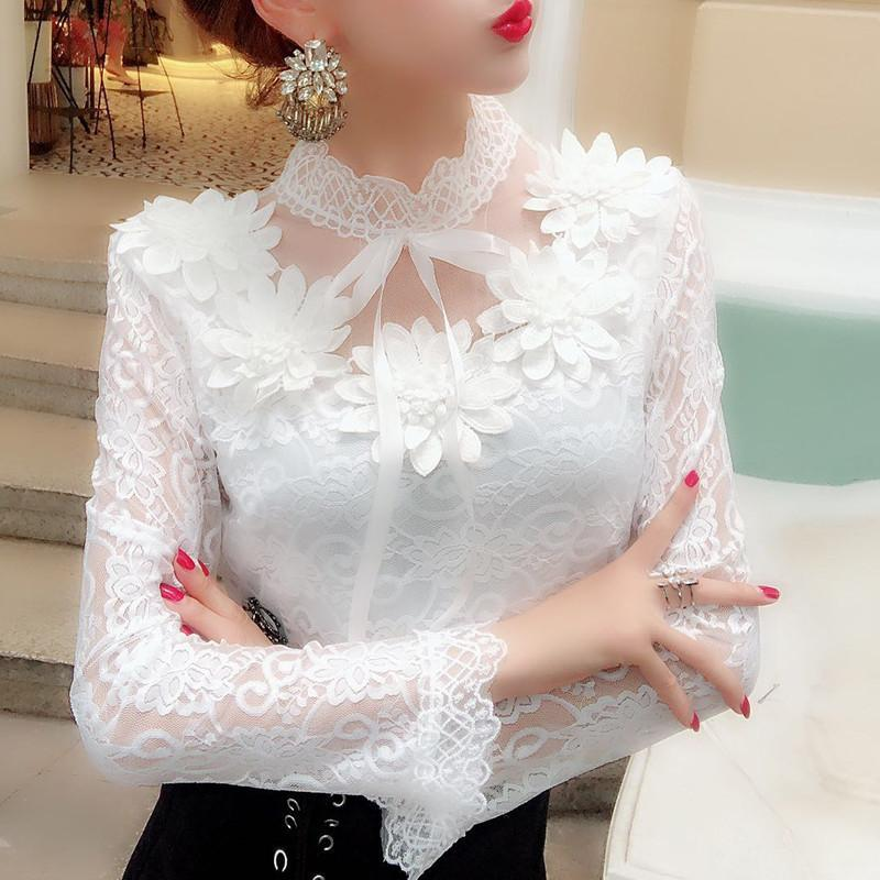 2018 frühling herbst frauen langarm bluse sweet floral hohl spitze shirt weiblichen bogen mesh blusen kurze bodenbildung tops ab1138 y190510
