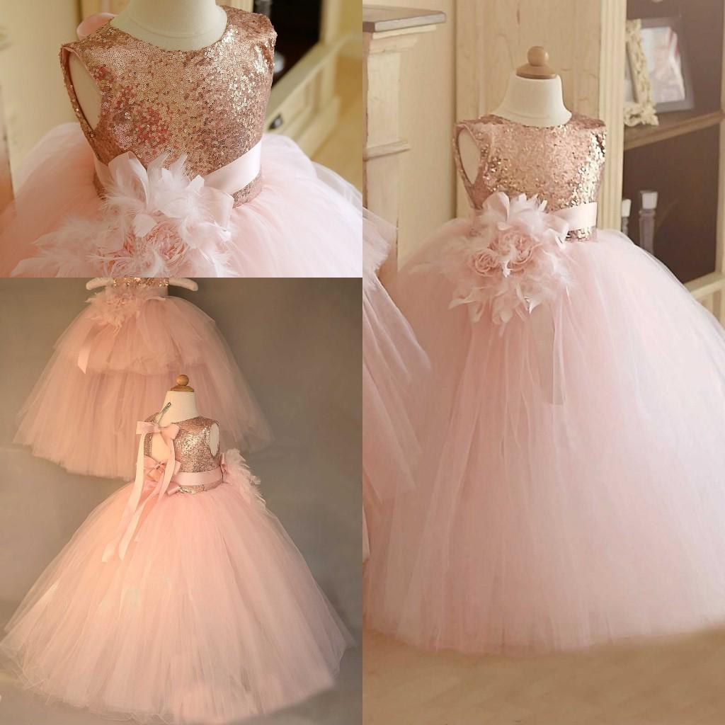 New Pink Princess Handmade Flower Girl Dress Organza Formal Party Wedding Gowns