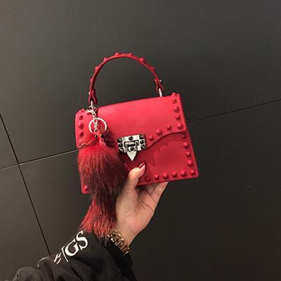 2020 nuova primavera retrò moda gelatina di signore sacchetto di spalla diagonale rivetto piccola borsa quadrata più colori il trasporto libero
